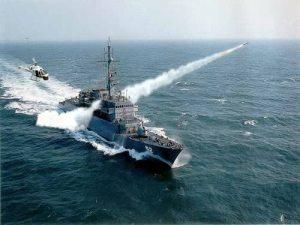 """Fragata ARC """"Caldas"""" lanzando Exocet MM-40"""
