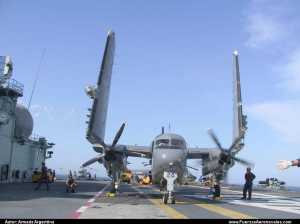 S-2T Turbo Tracker de la Armada Argentina a bordo de Portaviones Brasilero. (Foto: Fuerzasaeronavales.com)